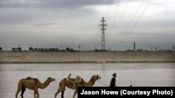 The new power line spans the Afghan-Uzbek border
