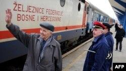 Sarajevska željeznička stanica, voz na putu za Beograd prvi put nakon 18 godina pauze, arhivska fotografija od 13 decembra 2009