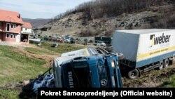 Prevrnuti kamion iz Srbije na Kosovu
