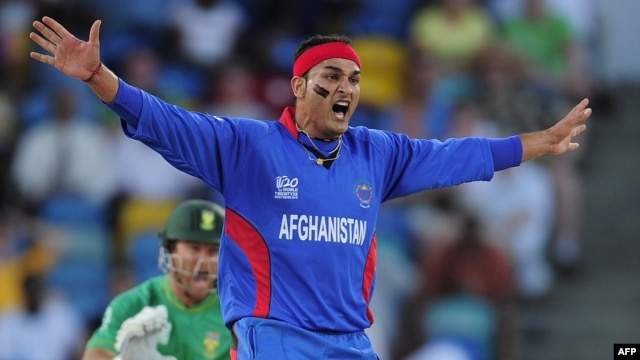 Afghan bowler Hamid Hassan plays an ICC World Twenty20 match with South Africa in May 2010.