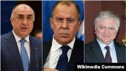 (Слева на право) Министры иностранных дел Азербайджана, России и Армении, Эльмар Мамедъяров, Сергей Лавров и Эдвард Налбандян