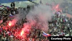 Russian soccer fans in Moscow's Luzhniki stadium