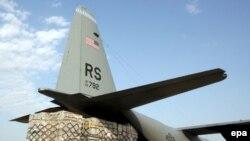 A U.S. military airplane delivers humanitarian aid in Georgia.