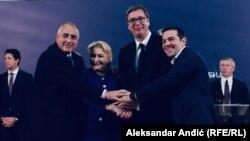 The prime ministers of Romania (Viorica Dancila, 2nd left), Bulgaria, (Boyko Borisov, left), and Greece (Alexis Tsipras, right) meet with Serbian President Aleksandar Vucic in Belgrade on December 22.