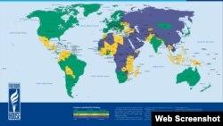 Україна на «мапі свободи» – частково вільна (жовтий колір; фіалковий – невільні країни)