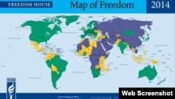 Freedom House-un dünyada azadlıqların vəziyyətinə dair xəritəsi