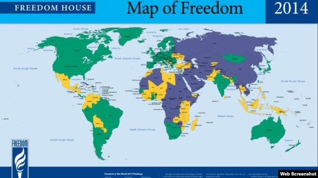 A screenshot of the Freedom House website featuring an annual survey.