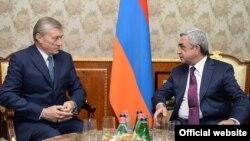 Армения - Президент Армении Серж Саргсян принимает генсека ОДКБ Николая Бордюжу, Ереван, 7 октября 2014 г.