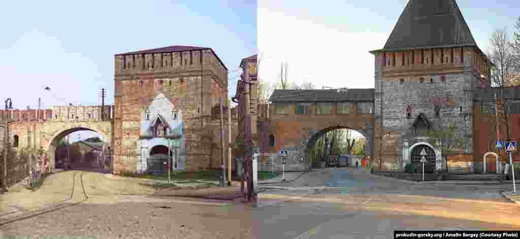 Одни из ворот в старой крепостной стене Смоленска. 1912/2008.