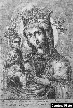 Гравюра абраза Маці Божай Наваградскай 1673 г.