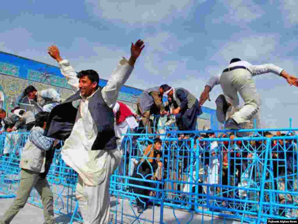 Norouz celebration in Afghanistan - Norouz Day in Mazar-e Sharif. People usually make pilgrimage to Mazar Al-Sharif to celebrate New day in the town's shrine.