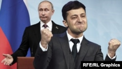 Володимир Зеленський, праворуч, і Володимир Путін (колаж)