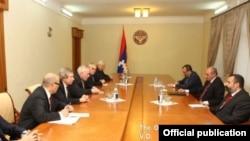 Nagorno-Karabakh - Bako Sahakian, the Karabakh president, meets with the visiting co-chairs of the OSCE Minsk Group, Stepanakert, 27Oct2015.