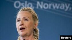 Хиллари Клинтон на пресс-конференции в Осло