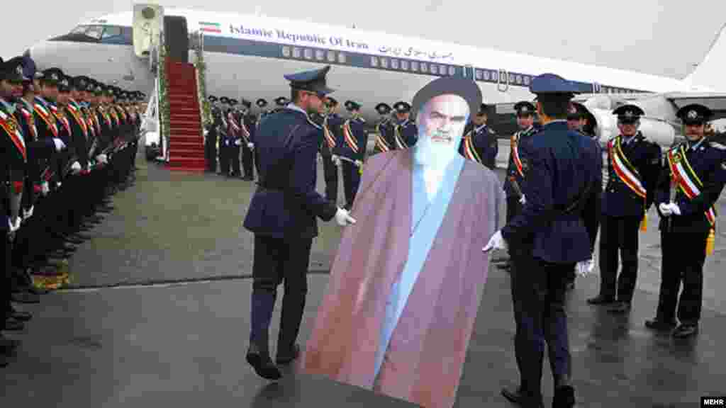 A cardboard cutout of Ayatollah Ruhollah Khomeini is used to commemorate the 33rd anniversary of his return to Iran from exile in 1979. (MEHR)