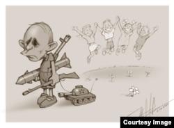 Путин и дети - одна из самых известных карикатур Юрия Журавля