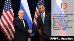 Барак Обама и Владимир Путин перед встречей в кулуарах ООН 28 сентября 2015 года