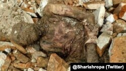 A photo circulated on social media showing a mummified body found at the tomb of Reza Shah Pahlavi.