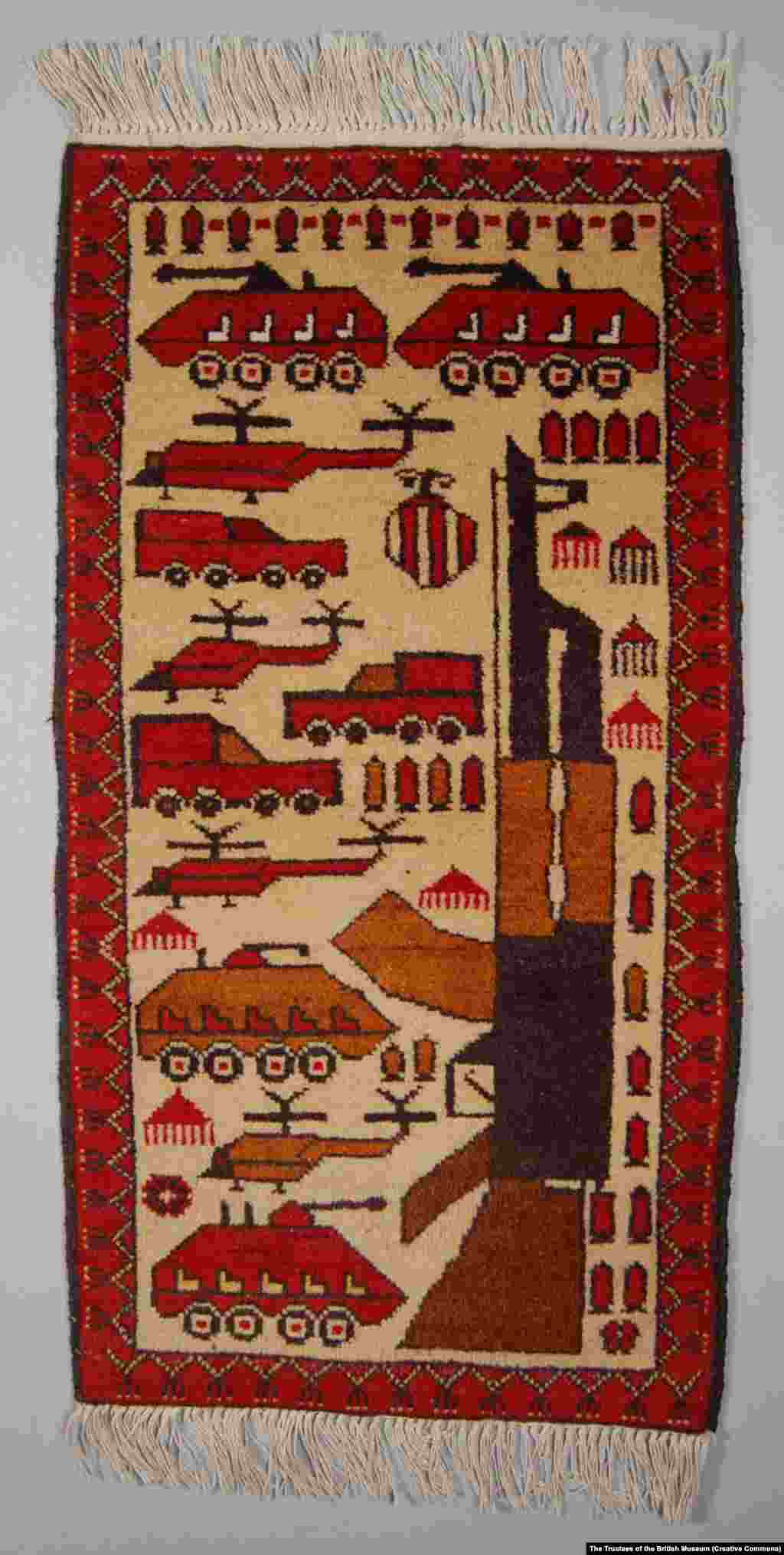 "Yar says: ""In 1980 and '81 some [war rugs] came to [West] Germany. It was during the Cold War, so it was interesting for Western people and they bought it, like a piece of history showing the Soviet Army in Afghanistan. When the merchants saw that there [was] a market for it, they ordered more from weavers in the north of Afghanistan. And they made a lot of pieces with guns and tanks, etc."""