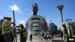 """Изградба на нова фонтана на плоштад """"Македонија""""."""