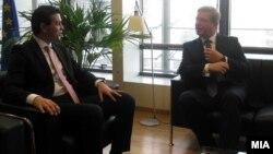 Средба на Министерот за надвореши работи Никола Попоски со еврокомесарот за проширување Штефан Филе, Брисел, Белгија. 22 јануари 2013.