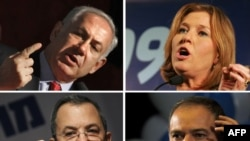 A combo photo of Likud party leader Benjamin Netanyahu, Kadima party leader Tzipi Livni, Avigdor Lieberman, leader of the Yisrael Beitenu party, and Labor party leader Ehud Barak