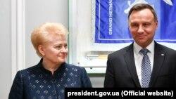 Даля Грыбаўскайце і Анджэй Дуда, архіўнае фота