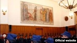 Մինաս Ավետիսյանի վերականգնված որմնանկարը Կառավարության շենքում: