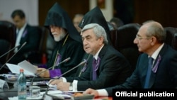 Armenia - President Serzh Sarkisian addresses a meeting of a state committee coordinating the official commemoration of the 100th anniversary of the Armenian genocide, Yerevan,27May,2014