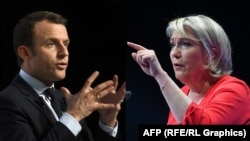 A combo photo of French presidential candidates Marine Le Pen (right) and Emmanuel Macron