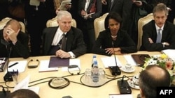 U.S. Defense Secretary Robert Gates and Secretary of State Condoleezza Rice with their Russian counterparts in Moscow in March.