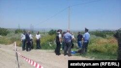 Место, где было найдено тело российского военнослужащего, 15 июня 2015 г․
