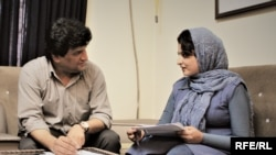 RFE/RL's Kabul Bureau Chief Hamid Mohmand discusses the radio program For Every Child with UNICEF producer, Freshta Mursal