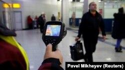 Температурний скринінг у Міжнародному аеропорту Алмати через поширення коронавірусу, січень 2020 року