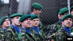 Portuguese soldiers serving in the NATO peacekeeping mission in Kosovo (KFOR) in Pristina in March