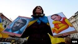 Акція протесту у столиці Чехії проти збройної агресії Росії щодо України. Прага, 8 березня 2014 року (ілюстраційне фото)