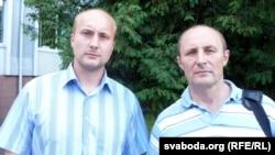 Алег Жалноў (справа) з сынам Аляксеем (зьлева)