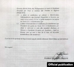 Kërkesa e Presidentit Thaçi, drejtuar Gjykatës Kushtetuese