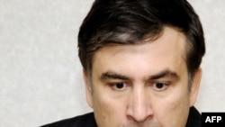 Georgia -- President Mikheil Saakashvili speaks at the Mukhrovani military base, 05May2009