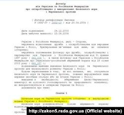 Договір між Україною та Росією про співробітництво у використанні Азовського моря і Керченської протоки