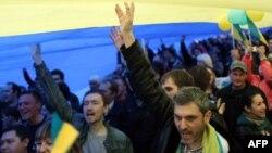 Ուկրաինայի միասնության կոչերով ցույցը Դոնեցկում, 17-ը ապրիլի, 2014թ․