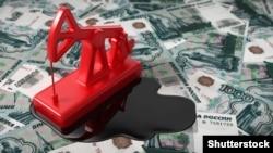 Ռուսական ռուբլու արժեզրկումն ու նավթի գնի անկումը խորհրդանշող նկար