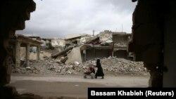 Сүриянең Доума шәһәрендә сугыш хәрәбәләре