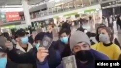 Таджикские студенты в аэропорту Сиань. 2 февраля 2020