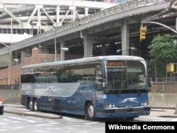 """ABŞ-da məşhur nəqliyyat şirkətinə məxsuz """"Greyhound"""" avtobusu."""