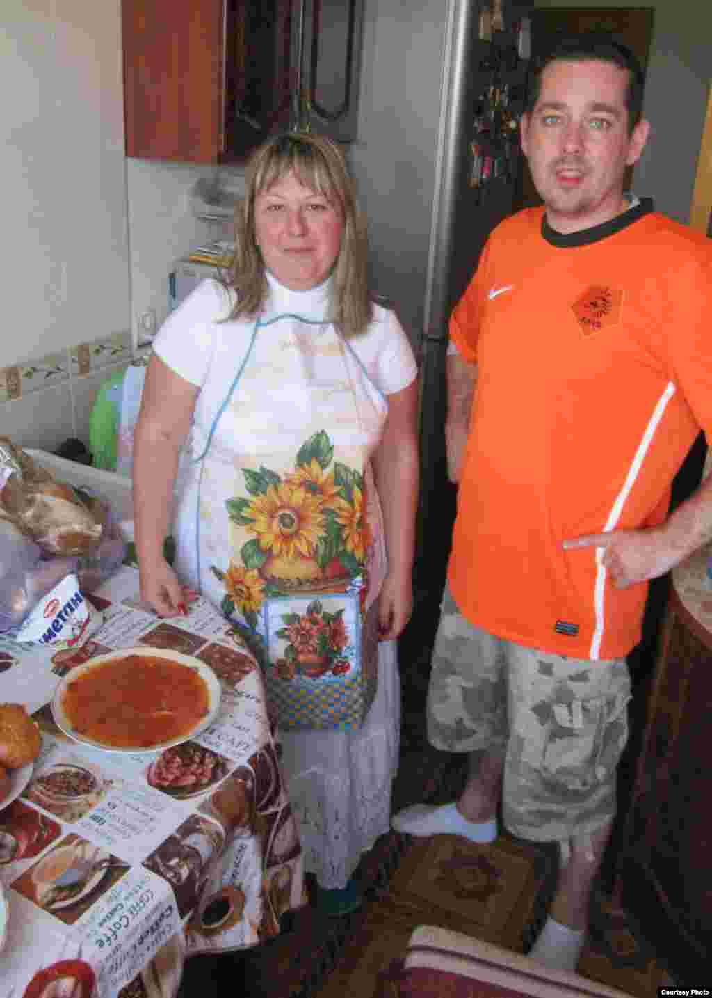 "Toldina made borscht for visiting Dutchman Jeroen, who also came for the Netherlands vs. Denmark match. ""It was like one week of fireworks. I got such great positive emotions,"" Toldina said. ""All my guests were wonderful."""