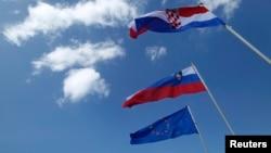 Zastave Hrvatske, Slovenije i EU, ilustrativna fotografija