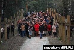 Крестовый поход, молитва в Куропатах после демонтажа крестов, 4 апреля 2019 года. Фото: svaboda.org