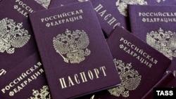 Russia -- Blanks Russian passports are seen in Ryazan, February 28, 2014