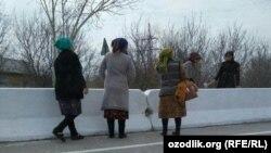 Работники бюджетных организаций в Каттакурганском районе Самаркандской области занимаются побелкой бетонных барьеров на магистральной дороге. Фото Радио Озодлик.